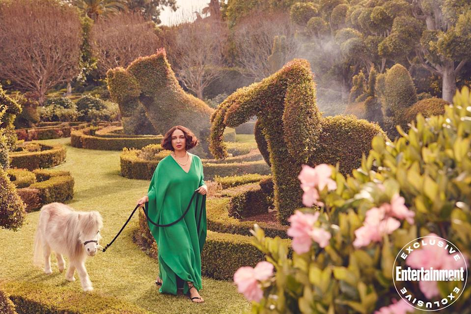 <p>Rudolph, seen here with a miniature horse named Mini G, lives in her native Los Angeles with her husband, director Paul Thomas Anderson (<em>Boogie Nights</em>, <em>There Will Be Blood</em>), and their four children.</p>