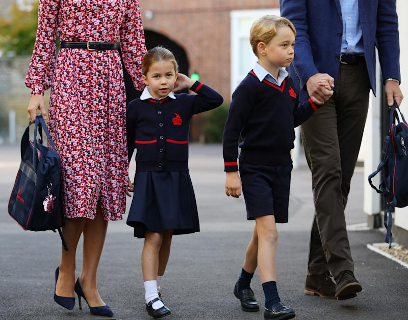 Princess Charlotte arrives for her first day of school alongside her brother Prince George. (Photo: Getty Images)