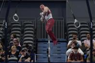 Brody Malone competes on the still rings during the U.S. Gymnastics Championships, Saturday, June 5, 2021, in Fort Worth, Texas. (AP Photo/Tony Gutierrez)