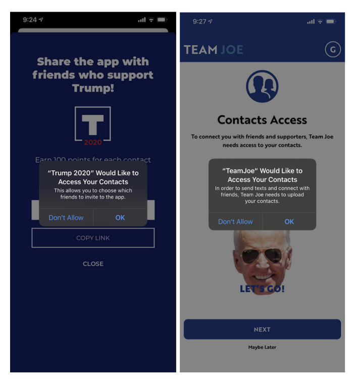 Screenshots show the Trump 2020 App and Team Joe App requesting access to a phone's contact list. / Credit: CBS News