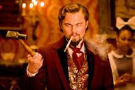 """<p>For the only time in his career, DiCaprio fully broke bad, and when he decided to go for it, he <i>went</i> for it. Leo's cruel plantation owner Calvin Candie doesn't show up until over an hour into Quentin Tarantino's Western, but his arrival is when things really get cookin'. It's a despicably magnetic performance that slowly builds to an epic 20-minute climactic dinner scene. With material like this (DiCaprio and <a href=""""https://ew.com/tag/samuel-l-jackson/"""" rel=""""nofollow noopener"""" target=""""_blank"""" data-ylk=""""slk:Samuel L. Jackson"""" class=""""link rapid-noclick-resp"""">Samuel L. Jackson</a> are a perfect evil match), it's no wonder that he would reunite with Tarantino for some more movie magic.</p> <p><b>Related: </b><a href=""""https://ew.com/article/2012/12/17/leonardo-dicaprio-calvin-candie-django-unchained/"""" rel=""""nofollow noopener"""" target=""""_blank"""" data-ylk=""""slk:Leonardo DiCaprio on Calvin Candie in Django Unchained"""" class=""""link rapid-noclick-resp"""">Leonardo DiCaprio on Calvin Candie in <i>Django Unchained</i></a></p>"""