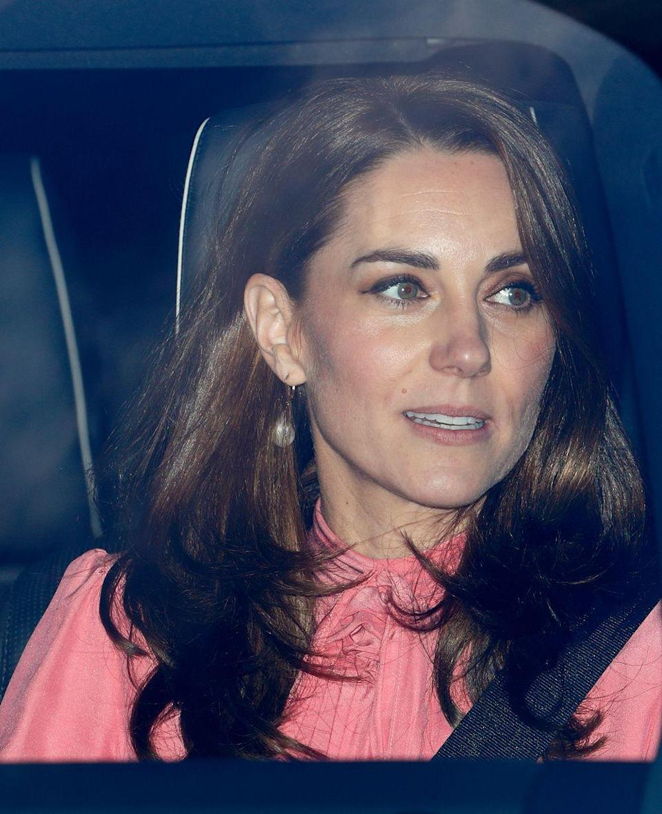 <p>For the annual Christmas lunch at Buckingham Palace, Kate re-wore this Stella McCartney dress, which we previously saw back in 2011...</p>