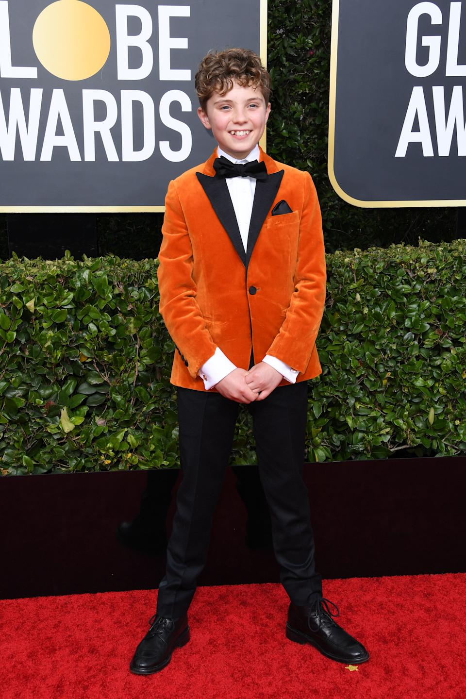 """Tomato-coloured suede is perfectly appropriate for a child actor. The fact that he talked about the thrill of <a href=""""https://twitter.com/JarettSays/status/1213965328587214848"""" target=""""_blank"""" rel=""""noopener noreferrer"""">kicking Hitler in the balls</a>? Even better."""