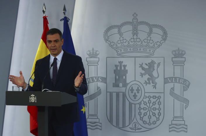 Spain's Prime Minister Pedro Sanchez talks during a press conference at the Moncloa Palace in Madrid, Spain, Tuesday, April 13, 2021. (Sergio Perez/Pool photo via AP)