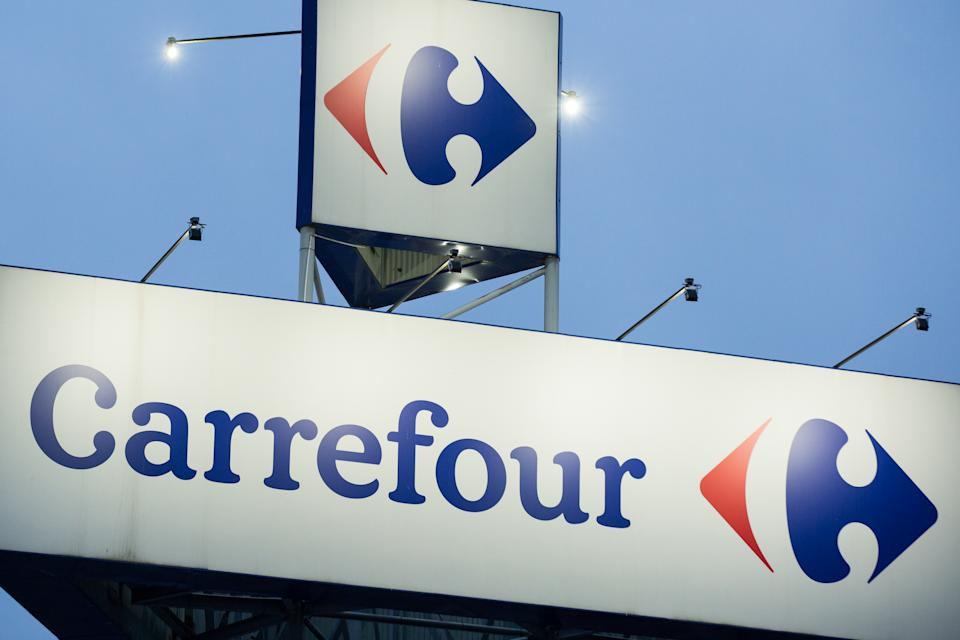 BOLESLAWIEC, POLAND - 2020/02/24: Carrefour logo seen at one of their supermarket stores,. (Photo by Karol Serewis/SOPA Images/LightRocket via Getty Images)
