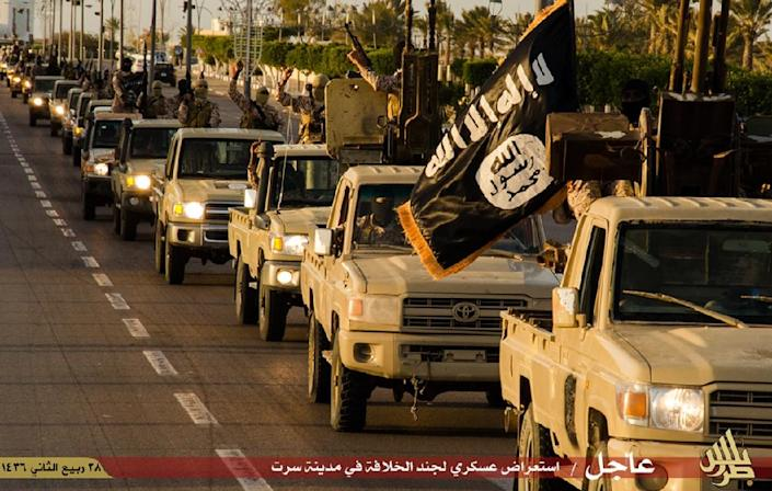 Image allegedly showing Islamic State militants parading in Sirte (AFP Photo/)