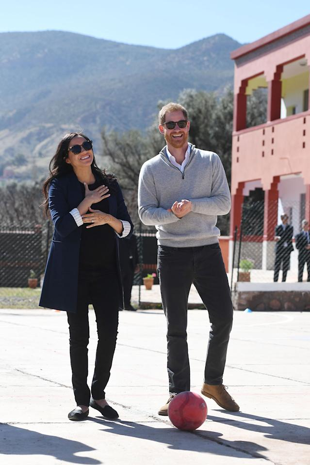 """<p>Meghan Markle is a huge fan of subtle cat-eye sunnies! While roaming around Morocco, she completed her look with <a href=""""https://click.linksynergy.com/deeplink?id=93xLBvPhAeE&mid=43945&murl=https%3A%2F%2Fillesteva.com%2Fcollections%2Fwomens-sunglasses&u1=PEO%2CMeghanMarkle%27sBestSunglasses%E2%80%94AndWheretoGettheLookforLess%2Ccwhitney%2CSty%2CGal%2C6666377%2C202003%2CI"""" target=""""_blank"""" rel=""""nofollow"""">a pair of Illesteva """"York"""" sunglasses</a> in the color tortoise.</p><p><strong>Get the Look!</strong></p><p>Mosanana Cateye Sunglasses Style MS51802, $11.99; <a href=""""https://www.amazon.com/Mosanana-Sunglasses-Tortoise-Designer-Protection/dp/B07DNXB5ZN/ref=as_li_ss_tl?ie=UTF8&linkCode=ll1&tag=poamzfmeghanmarklesunglasseskphillips0320-20&linkId=b9bd24943f285fd783b9b4160e008651&language=en_US"""">amazon.com</a></p><p>BP 66mm Oversized Sunglasses, $25; <a href=""""https://click.linksynergy.com/deeplink?id=93xLBvPhAeE&mid=1237&murl=https%3A%2F%2Fshop.nordstrom.com%2Fs%2Fbp-66mm-oversize-sunglasses%2F5149147%2Ffull&u1=PEO%2CMeghanMarkle%27sBestSunglasses%E2%80%94AndWheretoGettheLookforLess%2Ccwhitney%2CSty%2CGal%2C6666377%2C202003%2CI"""" target=""""_blank"""" rel=""""nofollow"""">nordstrom.com</a></p><p>The Marc Jacobs 55mm Cat Eye Sunglasses, $98; <a href=""""https://click.linksynergy.com/deeplink?id=93xLBvPhAeE&mid=1237&murl=https%3A%2F%2Fshop.nordstrom.com%2Fs%2Fthe-marc-jacobs-55mm-cat-eye-sunglasses%2F5602242%2Ffull&u1=PEO%2CMeghanMarkle%27sBestSunglasses%E2%80%94AndWheretoGettheLookforLess%2Ccwhitney%2CSty%2CGal%2C6666377%2C202003%2CI"""" target=""""_blank"""" rel=""""nofollow"""">nordstrom.com</a></p>"""