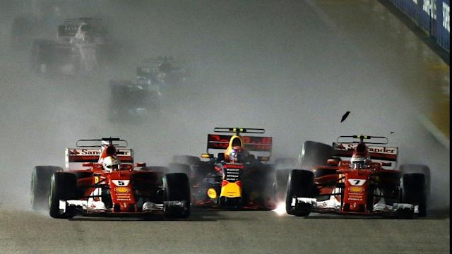 Sebastian Vettel, far left, collides with Max Verstappen, centre, and Kimi Raikkonen.
