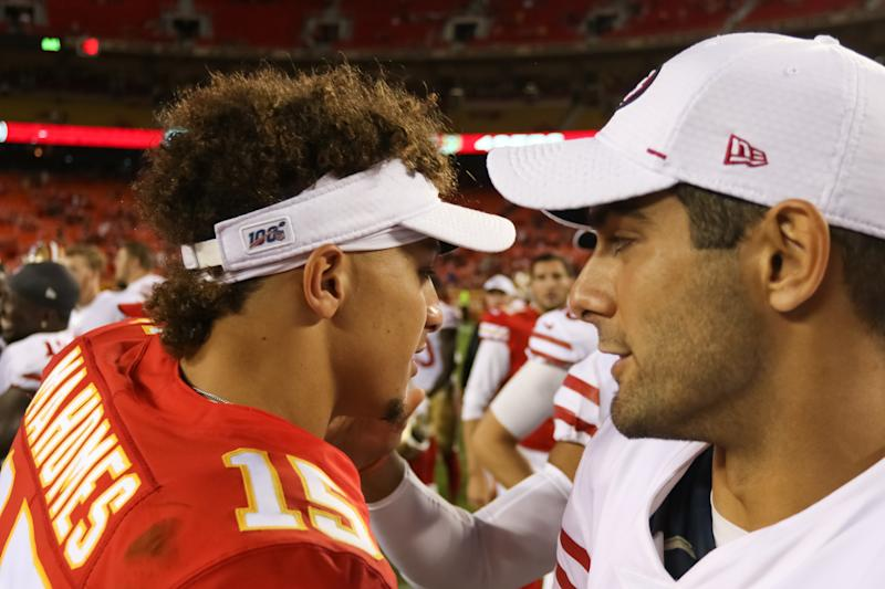 Super Bowl LIV will match Kansas City Chiefs QB Patrick Mahomes (15) and San Francisco 49ers QB Jimmy Garoppolo. (Photo by Scott Winters/Icon Sportswire via Getty Images)