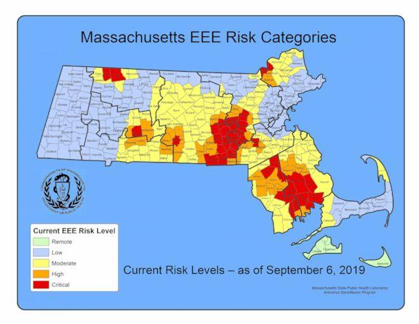 PHOTO: The Executive Office of Health and Human Services in Massachusetts released this map showing risk levels of the eastern equine encephalitis (EEE) virus. (Massachusetts Department of Public Health)