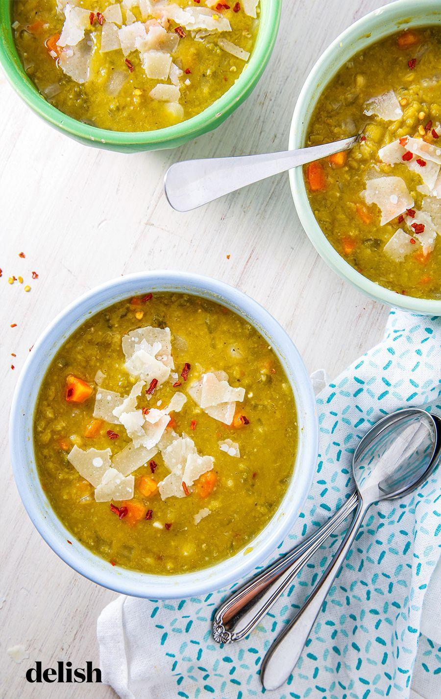 """<p>Just like our favorite fall sweater, we can't wait to break this recipe out once the cooler weather comes around.</p><p>Get the recipe from <a href=""""https://www.delish.com/cooking/recipe-ideas/a28223331/slow-cooker-split-pea-soup-recipe/"""" rel=""""nofollow noopener"""" target=""""_blank"""" data-ylk=""""slk:Delish"""" class=""""link rapid-noclick-resp"""">Delish</a>.</p>"""