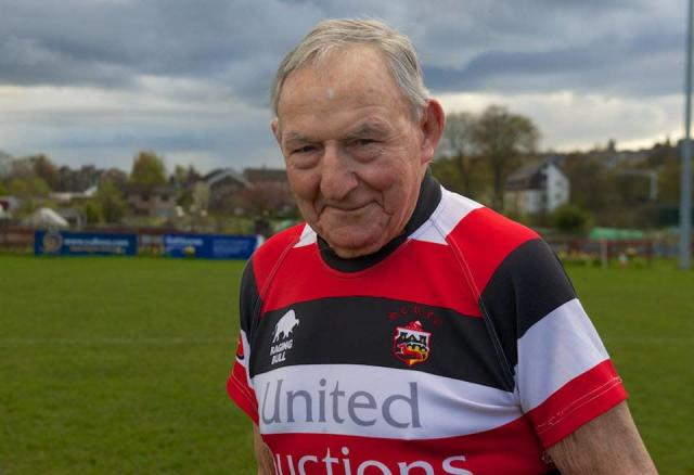 Easton Roy is 95 years old and he still plays rugby. Yeah, he's legendary. (Stirling County RFC)