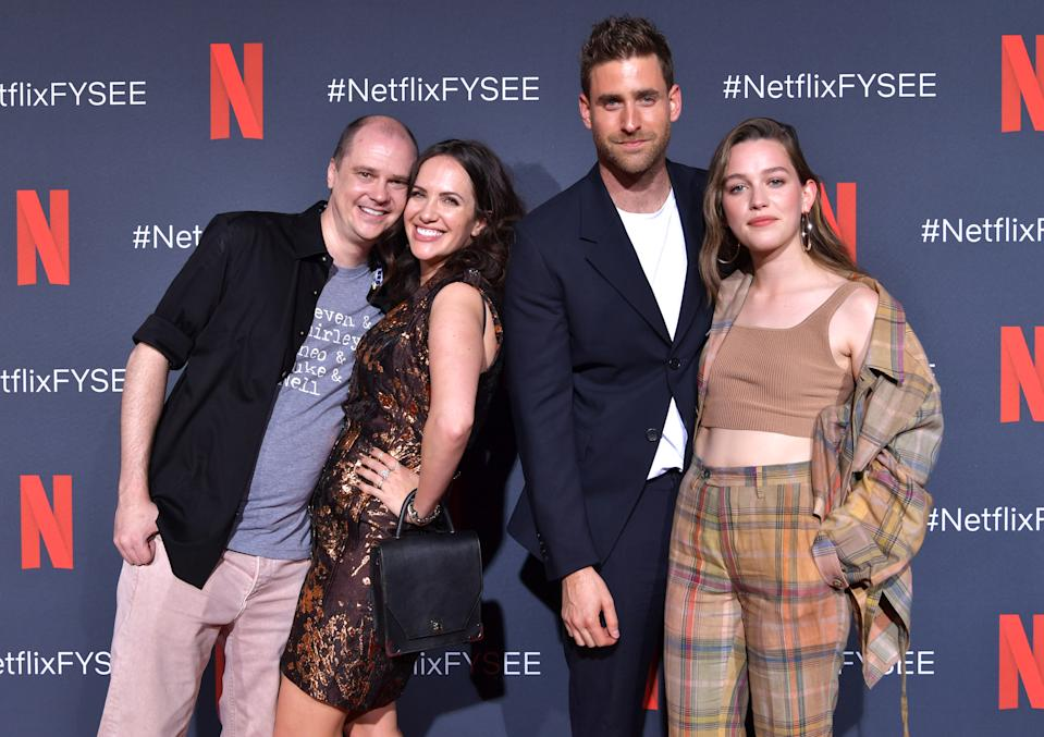 """LOS ANGELES, CALIFORNIA - MAY 21: Mike Flanagan, Kate Siegel, Oliver Jackson-Cohen and Victoria Pedretti attend the Netflix FYSEE Event for """"Haunting of Hill House"""" at Raleigh Studios on May 21, 2019 in Los Angeles, California. (Photo by Emma McIntyre/Getty Images for Netflix)"""