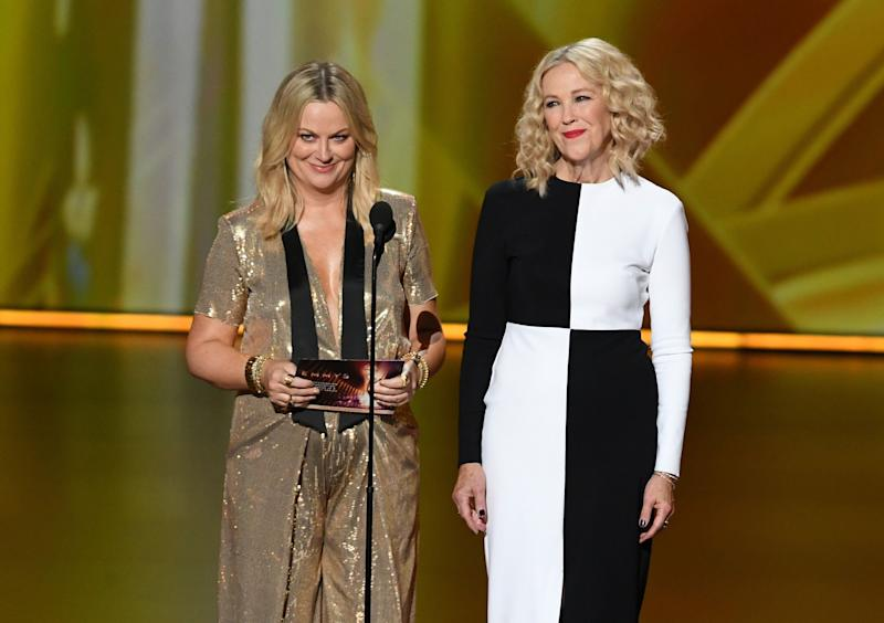 Amy Poehler and Catherine O'Hara speak onstage during the 71st Emmy Awards at Microsoft Theater on September 22, 2019 in Los Angeles, California.  (Photo: Kevin Winter via Getty Images)