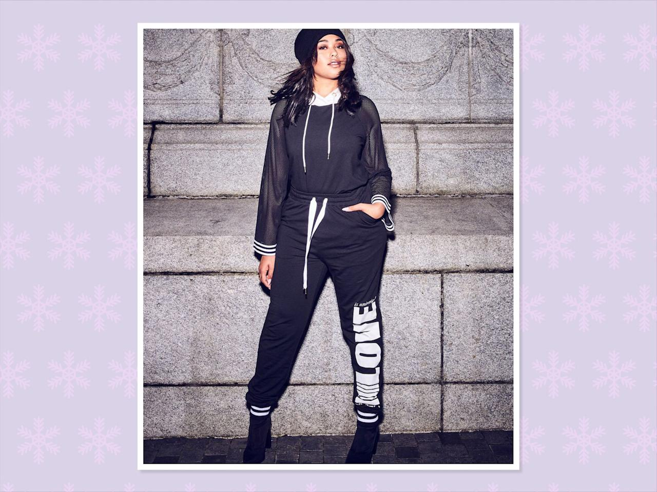 "<p>Nola x Jordyn Woods Harem Jogger Pant With Print, $58, <a rel=""nofollow"" href=""https://www.additionelle.com/en-us/nola-x-jordyn-woods-harem-jogger-pant-with-print/771221.html?dwvar_771221_color=Black&cgid=Collections-Jordyn-Woods"">Addition Elle</a> (Photo: Addition Elle) </p>"