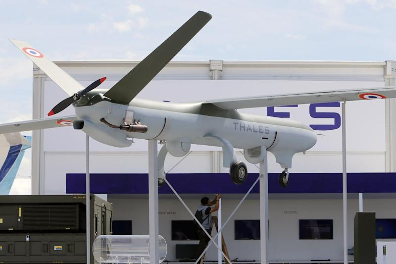 A French drone aircraft is displayed at the Paris Air Show in le Bourget, North of Paris, Sunday, June 16, 2013. The Paris Air Show will open on June 17 at Le Bourget. (AP Photo/Jacques Brinon)