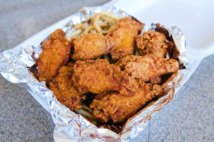A box of fried chicken wings.