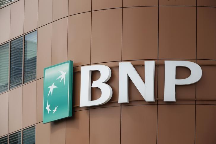 The logo of BNP Paribas is seen on top of the bank's building in Fontenay-sous-Bois, east of Paris