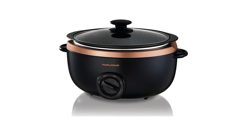 Morphy Richards' slow cooker has a dishwasher-friendly pot so keeping it clean will be easy