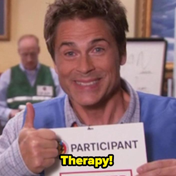 """Chris from """"Parks & Rec"""" excitingly saying, """"Therapy!"""""""
