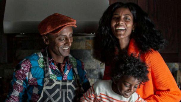 PHOTO: Chef Marcus Samuelsson with his wife and son for his new cookbook, 'Black Cooks and the Soul of American Food.' (Angie Mosier)