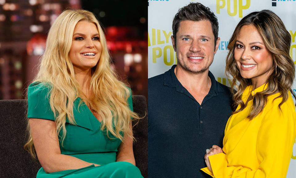 Vanessa and Nick Lachey deny Jessica Simpson's claim they sent her a gift during an awkward interview on Today. (Photo: Getty Images)