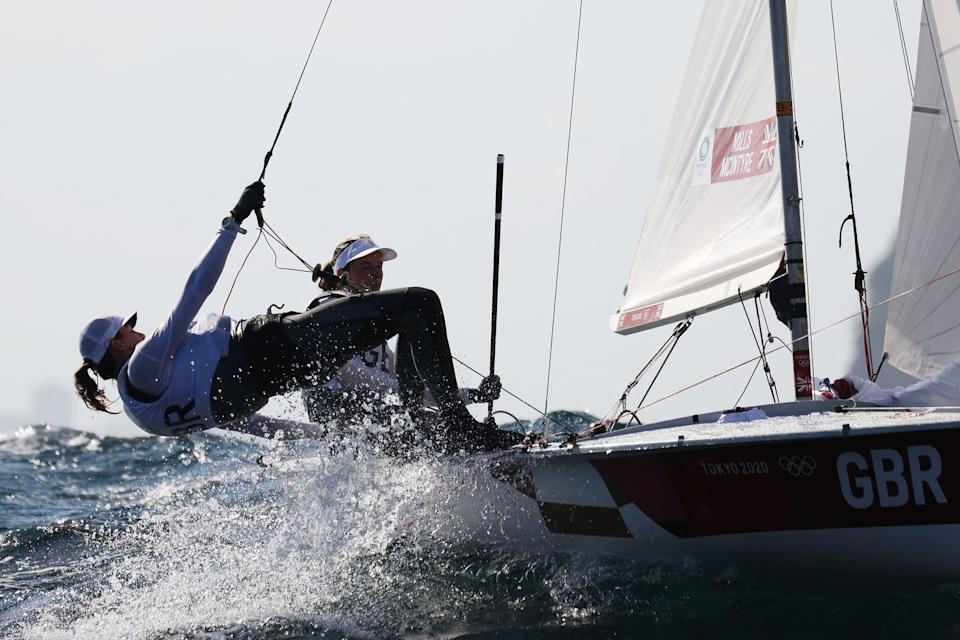 <p>England's Hannah Mills and Eilidh McIntyre compete in the women's 470 class race.</p>
