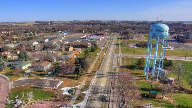 Brandon, South Dakota in Spring seen from Above by Drone.