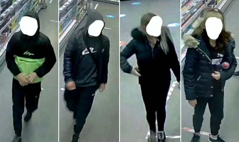 Police released CCTV images of four suspected racist thugs with their faces blurred out to protect their identities. (SWNS)