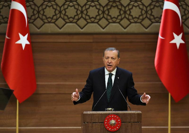 Turkish President Recep Tayyip Erdogan has called for voters to return his AKP party's overall majority in November elections (AFP Photo/Adem Altan)
