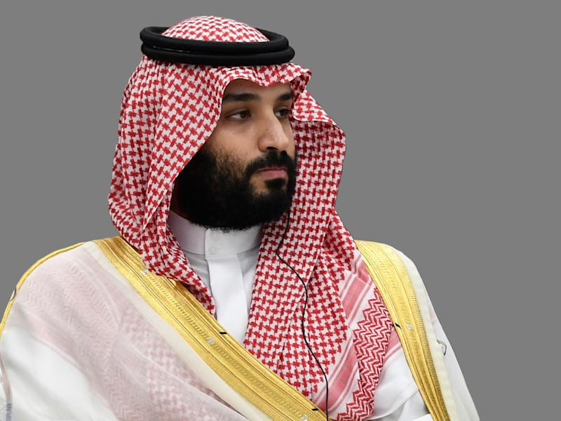 Mohammed bin Salman, as Saudi Arabia Crown Prince, at the G-20 summit, Osaka, Japan, graphic element on gray