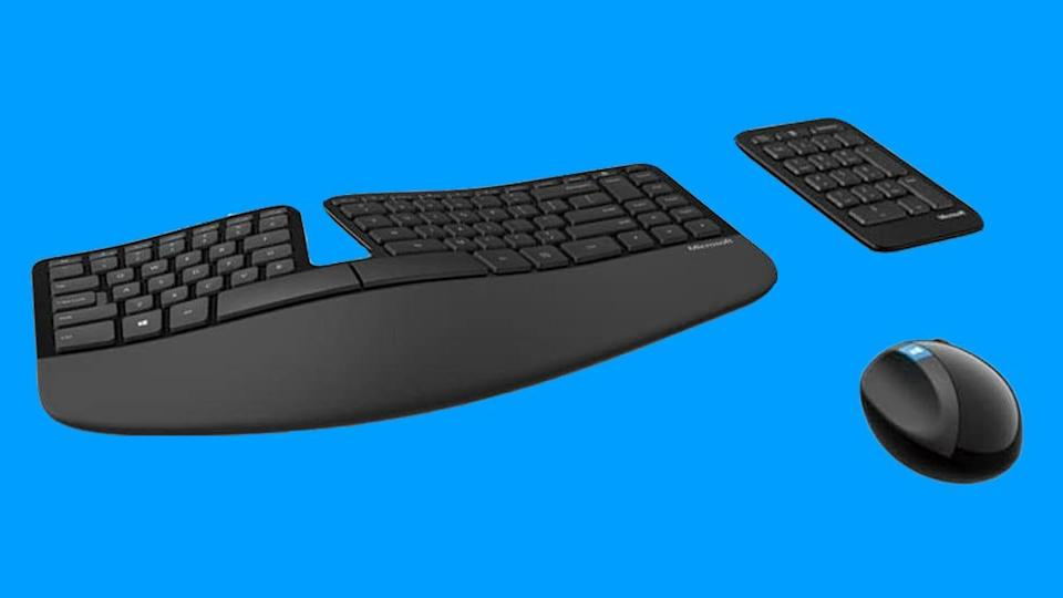 Make your home office setup a little easier on your hands with this ergonomic keyboard.