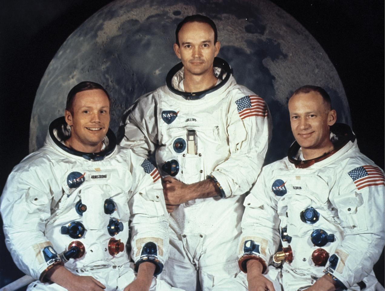 Astronauts Neil Armstrong, Michael Collins, and Buzz Aldrin a few weeks before their mission (Picture: Encyclopaedia Britannica/UIG Via Getty Images)