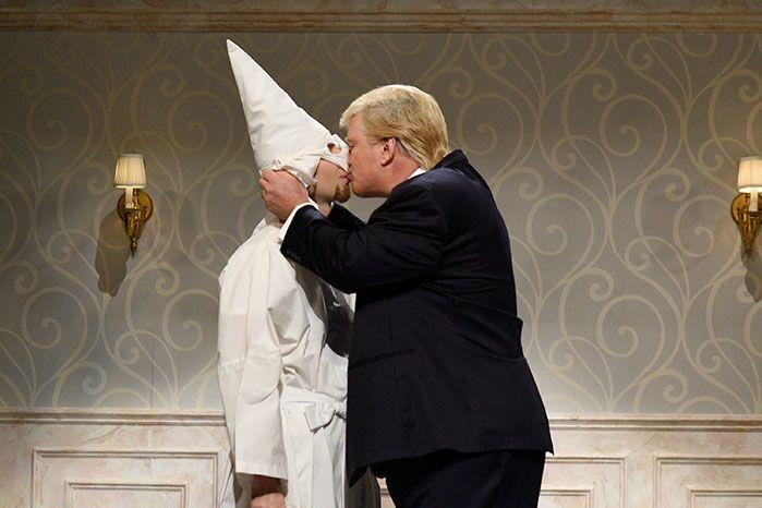 The Ku Klux Klan supported Trump throughout the campaign trail, even Saturday Night Live created a humorous clip about their support during the campaign. Image: Getty
