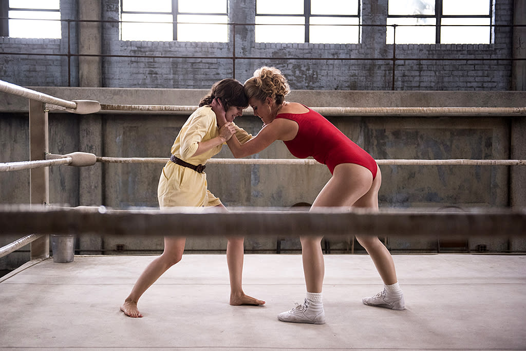 <p>Alison Brie as Ruth and Betty Gilpin as Debbie in Netflix's <i>GLOW</i>.<br /><br />(Photo Credit: Erica Parise/Netflix) </p>
