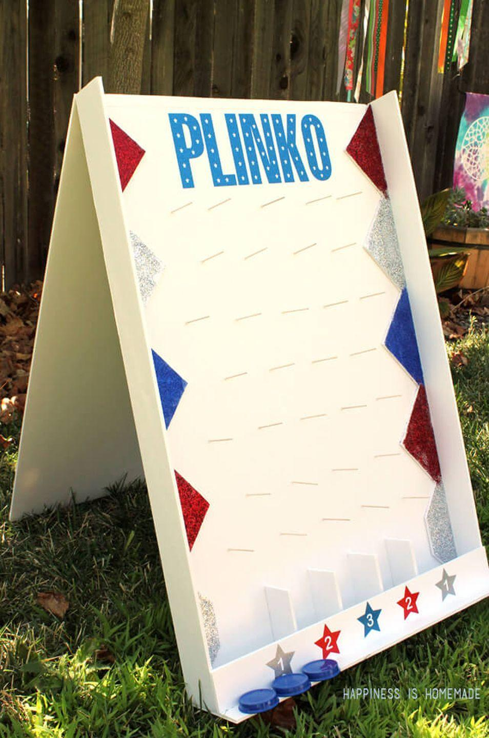 """<p>Bring the classic <em>Price is Right</em> game to your backyard with this DIY foam board. </p><p><strong>Get the tutorial at <a href=""""https://www.happinessishomemade.net/diy-backyard-plinko-party-game/"""" rel=""""nofollow noopener"""" target=""""_blank"""" data-ylk=""""slk:Happiness is Homemade"""" class=""""link rapid-noclick-resp"""">Happiness is Homemade</a>.</strong></p><p><a class=""""link rapid-noclick-resp"""" href=""""https://www.amazon.com/ELMERS-Board-Thick-Single-950398/dp/B000KNL4RK?tag=syn-yahoo-20&ascsubtag=%5Bartid%7C10050.g.21095894%5Bsrc%7Cyahoo-us"""" rel=""""nofollow noopener"""" target=""""_blank"""" data-ylk=""""slk:SHOP FOAM BOARDS""""><strong>SHOP FOAM BOARDS</strong> </a></p>"""