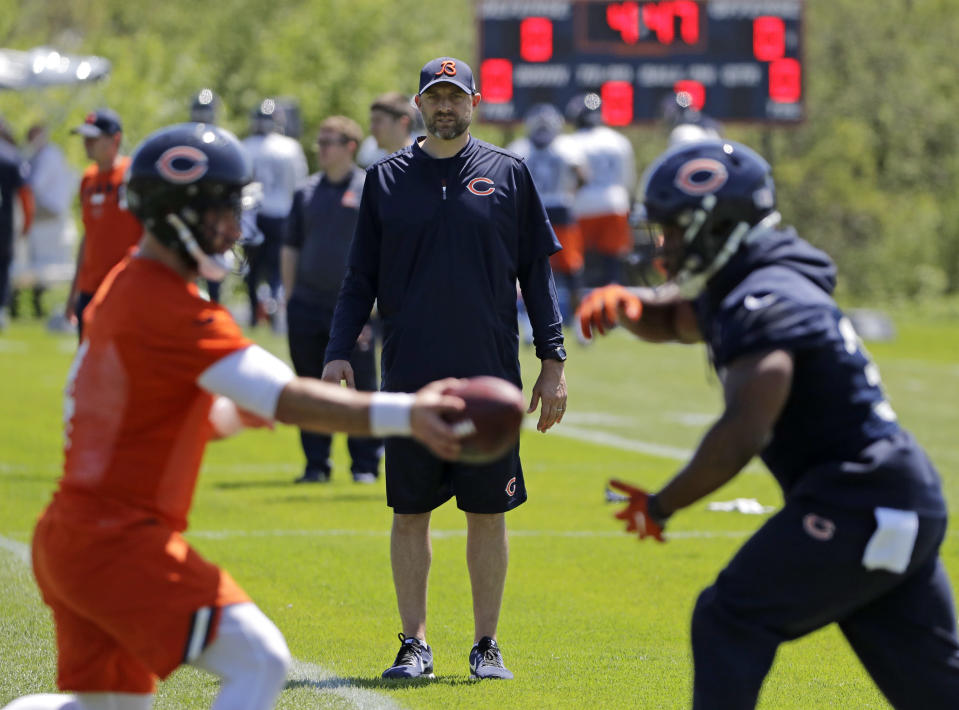 Bears head coach Matt Nagy wants to increase the pace for Chicago's offense. (AP)