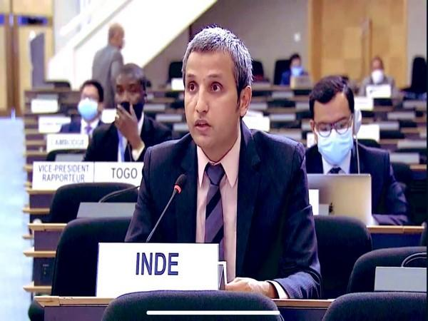 Vimarsh Aryan, First Secretary, India's permanent mission to UNOG, speaking at 45th Session of the Human Rights Council. Photo/ANI