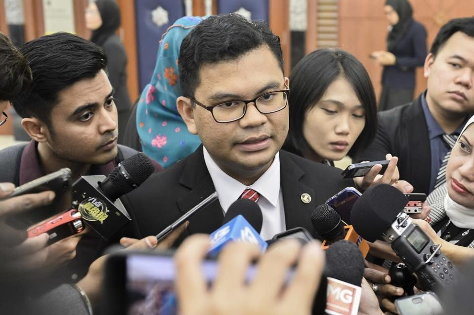 PKR Youth chief Akmal Nasrullah Mohd Nasir speaks to reporters at the Parliament lobby in Kuala Lumpur November 26, 2019. — Picture by Miera Zulyana
