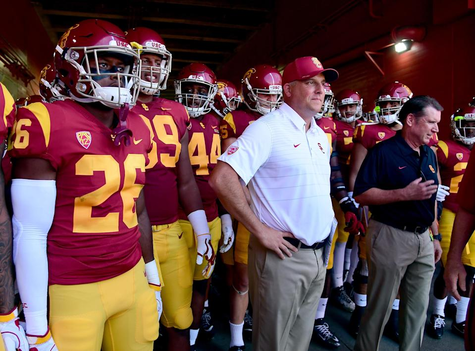 Clay Helton's USC Trojans are still in the thick of the Pac-12 South hunt thanks to the division's mediocrity. (Getty file photo)