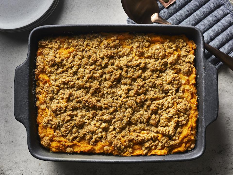 """<p><strong>Recipe: <a href=""""https://www.southernliving.com/recipes/make-ahead-sweet-potato-casserole"""" rel=""""nofollow noopener"""" target=""""_blank"""" data-ylk=""""slk:Make-Ahead Sweet Potato Casserole"""" class=""""link rapid-noclick-resp"""">Make-Ahead Sweet Potato Casserole</a></strong></p> <p>This family-favorite holiday casserole is even tastier knowing you're able to make it ahead and keep in your fridge ahead of any meal for up to four days.</p>"""