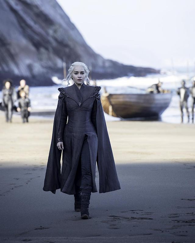 "<p>Now that Daenerys is arriving in Westeros, she's taking on the colors of her house, red and black. And gone are the flowing fabrics; she sports stiffer, armor-like outfits. ""She's this figurehead of her army,"" Clapton told <a href=""http://uproxx.com/tv/new-game-of-thrones-season-7-costumes/"" rel=""nofollow noopener"" target=""_blank"" data-ylk=""slk:Uproxx"" class=""link rapid-noclick-resp"">Uproxx</a>. ""I wanted her to be able to stand in front of the Unsullied and be their leader."" Her accessories are changing, too. ""She can't have a crown, she hasn't conquered yet. But I loved this [idea] of this chain of intent.""<br><br>(Photo Credit: HBO) </p>"