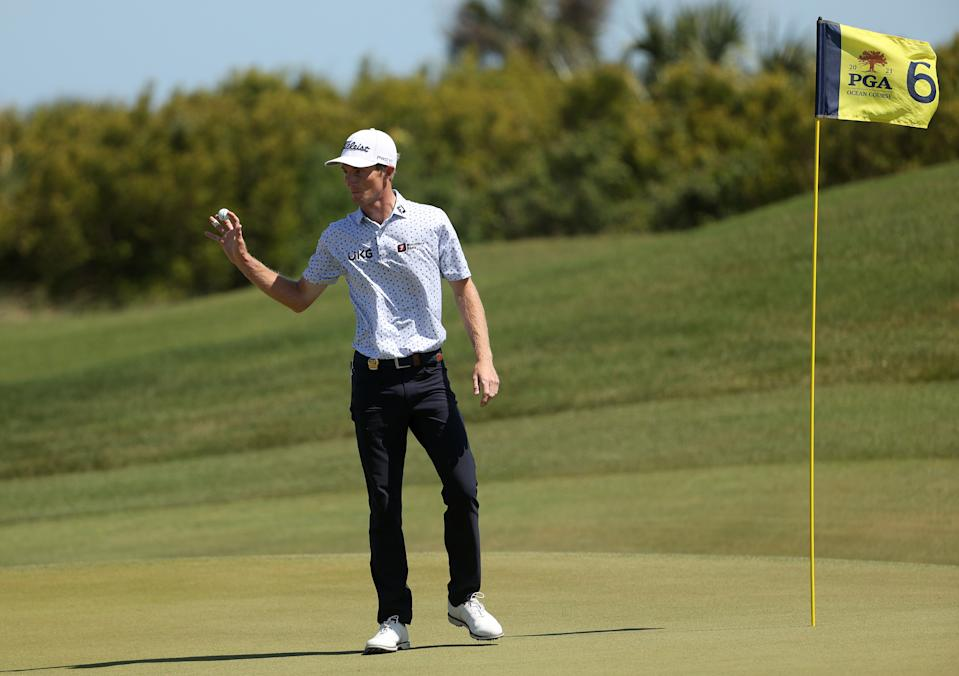 Will Zalatoris of the United States reacts after holing out on the sixth green during the first round of the 2021 PGA Championship