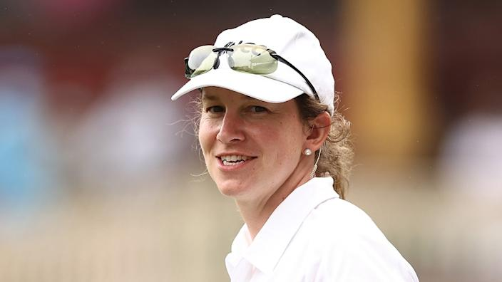 Claire Polosak becomes the first female to officiate a match in the history of 144 years of men's test cricket.