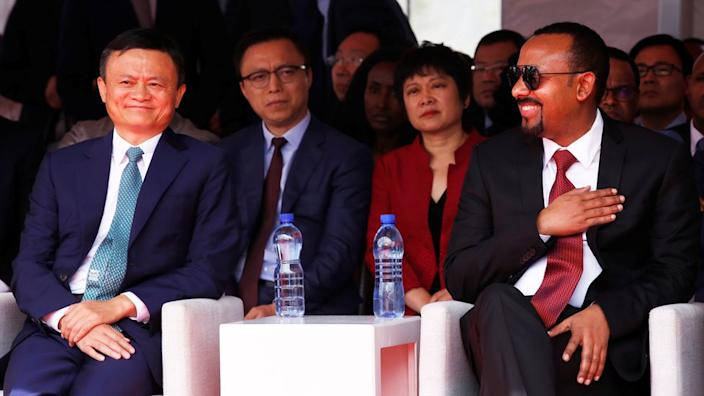 Ma at an Electronic World Trade Platform event with Ethiopian Prime Minister Abiy Ahmed last year