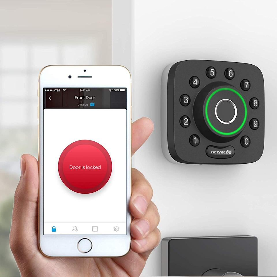 """<p>Already have your smartphone out and ready to use? Or just can't use your fingerprint because you just grabbed a snack? No worries! You can use your smart phone to unlock your <a href=""""https://www.popsugar.com/buy/U-Bolt-Smart-Lock-491478?p_name=U-Bolt%20Smart%20Lock&retailer=amazon.com&pid=491478&price=170&evar1=geek%3Aus&evar9=46627270&evar98=https%3A%2F%2Fwww.popsugar.com%2Fnews%2Fphoto-gallery%2F46627270%2Fimage%2F46627272%2FU-Bolt-Smart-Lock---Smartphone-Unlock&list1=technology%20%26%20gadgets&prop13=api&pdata=1"""" rel=""""nofollow"""" data-shoppable-link=""""1"""" target=""""_blank"""" class=""""ga-track"""" data-ga-category=""""Related"""" data-ga-label=""""https://www.amazon.com/ULTRALOQ-Bluetooth-Fingerprint-Electronic-Deadbolt/dp/B07WCW8M72/ref=sr_1_2?keywords=u-bolt+pro&amp;qid=1568671846&amp;s=hi&amp;sr=1-2&amp;tag=popsugarshopx-20"""" data-ga-action=""""In-Line Links"""">U-Bolt Smart Lock</a> ($170, originally $240) by simply going to the app that goes hand in hand with the smart device and unlocking it that way. </p>"""