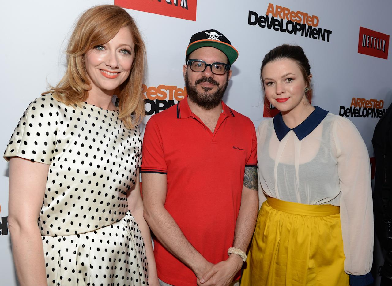 "HOLLYWOOD, CA - APRIL 29:  Actress Judy Greer, actor David Cross and actress Amber Tamblyn arrive at the Los Angeles Premiere of Season 4 of Netflix's ""Arrested Development"" at the TCL Chinese Theatre on April 29, 2013 in Hollywood, California.  (Photo by Michael Buckner/Getty Images for Netflix)"