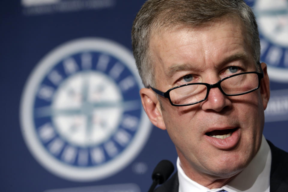 Seattle Mariners team president Kevin Mather speaks at a news conference Tuesday, Sept. 29, 2015, in Seattle. (AP Photo/Elaine Thompson)