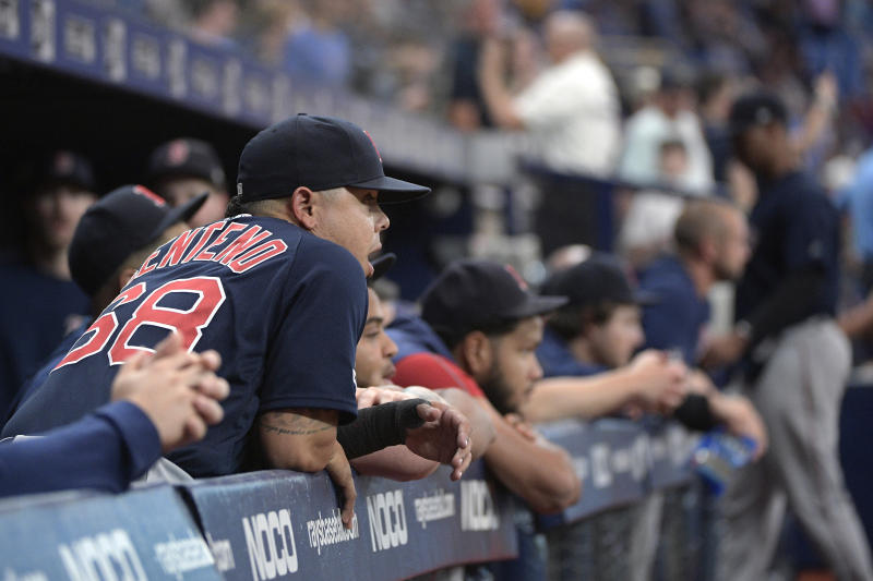 Boston Red Sox catcher Juan Centeno (68) reacts in the dugout after the Tampa Bay Rays won in the 11th inning of a baseball game Friday, Sept. 20, 2019, in St. Petersburg, Fla. (AP Photo/Phelan M. Ebenhack)