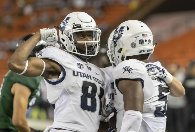 Utah State wide receiver Savon Scarver (81) celebrates a touchdown run by his teammate running back Darwin Thompson (5) in the second half of an NCAA college football game against Hawaii, Saturday, Nov. 3, 2018, in Honolulu. (AP Photo/Eugene Tanner)